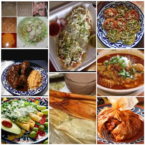 various authentic mexican dishes with highlights from puebla