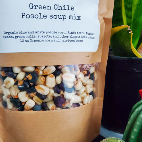 Green Chile Posole Soup Mix in a bag from Sky Island Spice Co