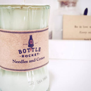 upcycled bottle candle from Bottle Rocket Design