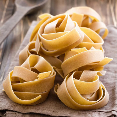 close up fresh pappardelle pasta