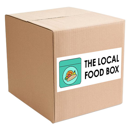 local food box with sticker label